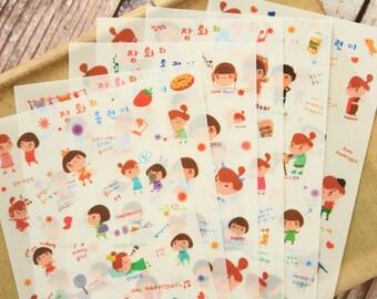 Fredo Little Chiildren cartoon stickers 6pc set