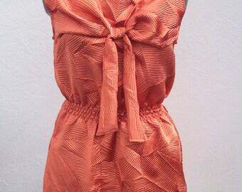 Orange lines with Large Bow sleeveless day dress o.o.a.k handmade original unique bold size M-L UK 12-14