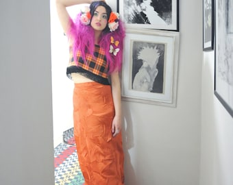 ORANGE check tartan crop top with black fringing o.o.a.k handmade in UK size 8-10 size S