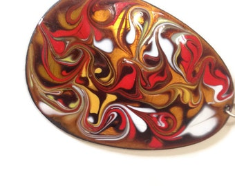 Vintage Enamel on Copper Pendant / Marble Abstract / Modernest  / Teardrop 1960's necklace