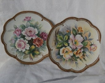 Pair of Ucagco Hand Painted Flowers Wall Plates, Vintage Japan Made