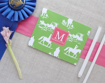 Monogram Stationery | Equestrian Chinoiserie Pattern | Horse | Custom Colors | Set of 10 Folded Note Cards