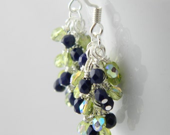 Navy Blue and Green Dangle Earrings with Sterling or Steel Ear Wires