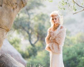 Faux Fur  Cover-Up, Stole, Shawl , Bridal, Bridesmaid, Bridal, Available in Tan and, Light Ivory and  Creamy Ivory, Star