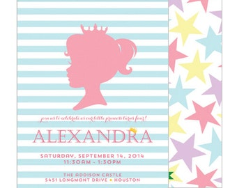 Preppy Pastel Princess Silhouette Birthday Party Invitation with Stars and Stripes   Set of 20 Double-Sided Invitations