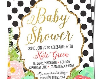 Baby Girl Shower Invitation - Digital File - Black and Gold - Coral and Mint Watercolor - Polka dot