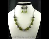 Vesuvianite, Idocrase, Peridot, Necklace, Dangle Earrings, 925 Sterling Silver, Patina, Adjustable, Chain, Bali, Set, Gemstone, Jewelry