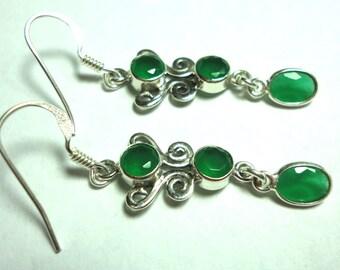 Emerald Green Onyx Earrings in Solid Sterling Silver Emerald Chandelier Earrings With Sterling Ear Wire Hooks