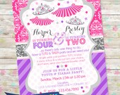 Tutus and Tiaras Birthday Bash, Tutus Tiaras Party, Princess Birthday, Joint Birthday Invite, Printable Invite, Sisters Joint Invite