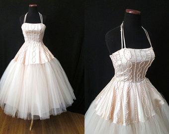 To Die For 1950's Dreamy Vintage Halter Satin and Tulle Party Prom Wedding Dress w/ Sequins Rockabilly VLV Pinup Cupcake Size-X-Small