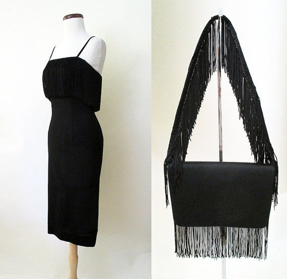 "Stunning 1950's Designer Extreme Hourglass Cocktail Party Dress w/ Matching Purse by "" Deb-time Original"" Size-X-Small-Small"