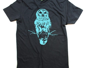 Mens Owl Tshirt - Bird Tshirt - Organic Cotton - Grey - Small, Medium, Large, Extra Large, 2X - Clothing - Eco Friendly Tee