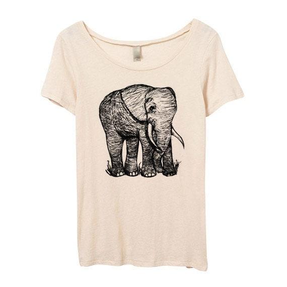 Womens cute elephant tshirt elephant scoop neck eco by for Elephant t shirt women s