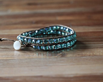 Double wrap crystal faceted bead bracelet - teal and brown - stacked