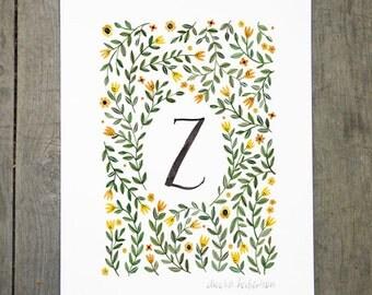Monogram Letter Z floral art print