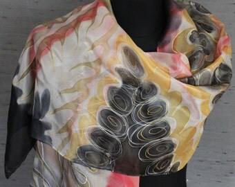 Endless Harmony design scarf. Long, soft, feminine hand painted silk scarf in black, white, red, yellow with detailed patterns of eternity.