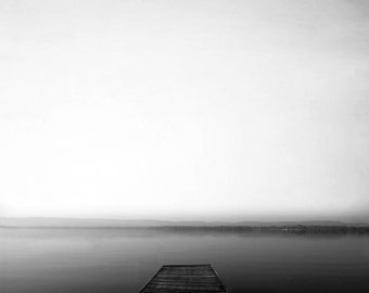 Black and White Dock Photography, Lake House Decor, Neutral, Rustic, Beach Decor, Dock Print, Summer