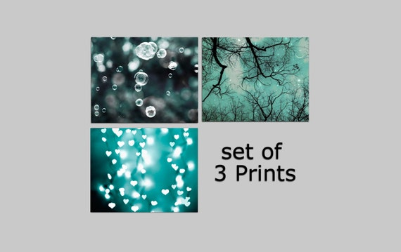 SALE, Teal Wall Art, Set of 3 prints, Blue Green, Boy Nursery Decor, Teal & Black, Fine Art Photography, Save 50%