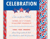 Fourth of July BBQ Invitation - Printing Deposit or Printable / Digital File