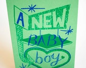 New Baby Boy Hand Printed Card