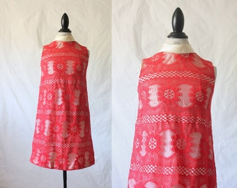 c1960's Red Lace Scooter Dress S