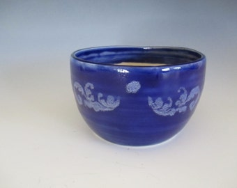 Royal Blue Flower Pot Small Planter with Silkscreen Filigree