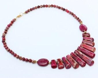 Magenta Statement Necklace, Fan Necklace, Bib Necklace, Pink Necklace