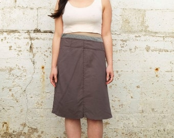 Vintage Marni Muted Pink Plum Purple Mid Waisted A Line Minimalist Raw Edge Knee Length Skirt M/L 32