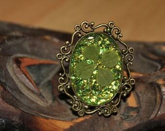 Real Four Leaf Clover Pin Shamrock Brooch