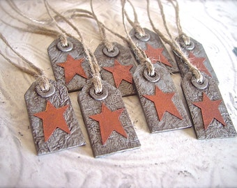Country Primitive Rustic Farmhouse Polymer Clay Gift Tag Ornaments Weathered Old Tin Look Rusty Copper Stars, Home Decor Hang Tag Napkin Tie