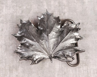 Maple Leaf Belt Buckle - Maple Leaf Buckle - Leaf Buckle - Pewter Belt Buckle - Silver Belt Buckle