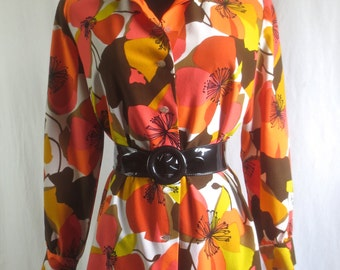 Vintage 1970's SUPER MOD Woman's Blouse - Orange, Yellow, Pink Flower Power Top