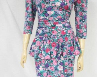 Body Con Peplum Wiggle Dress Pink Cabbage Roses Vintage 1980s Bodycon