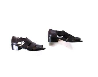 SALE Vintage Leather Sandals Size 7.5 / Brown Leather Sandals / T Strap Sandals