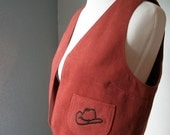 Clay Red Vest with Cowgirl Cowboy Hat on Pocket - Fully Lined, Size Medium