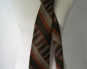 Mid Century Modern 70s Brown and Orange Geometric Print Tie