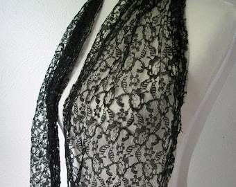 Black Lace Gypsy Head Scarf or Tie Belt