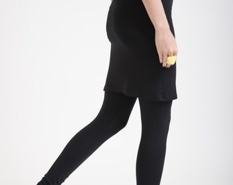 Skirted Leggings / Womens Tights / Yoga Pants with an Attached Skirt / Fold Over Tights / marcellamoda - MP175