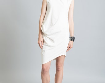 Sleeveless Dress / Oversized Tunic Dress / Extravagant Tunic / Casual Draping Dress / Scoop Neckline Dress / marcellamoda - MD259