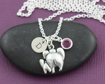 SALE - Elephant Necklace - Mom and Baby Elephant Charm - Elephant Lover Gift - Mommy Gift - Personalized Initial Necklace - Custom