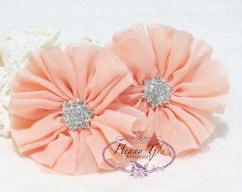"2 pcs 2.5"" Adeila Ballerina BABY PEACH Apricot Shabby UNFrayed Chiffon Ruffle Flowers w/ Rhinestone, Silk Flowers, applique hair accessories"