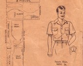 40s Mens Shirt Pattern Australian Home Journal 9494 Size Chest 40 inches Neck 15 1/2 inches