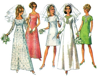 Simplicity 7538 Wedding Dress A Line Princess Seams Bridal Gown Bridesmaids Bride Vintage Sewing Pattern Size 14 Bust 36 inches