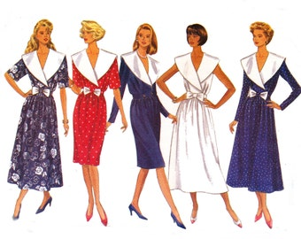 1990 Wide Collar Wrap Top Dress Pattern Butterick 4622 Prom Bridesmaid Gown Vintage Sewing Pattern Size 12 14 16 UNCUT Factory Folds