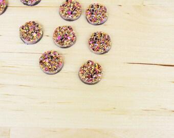 10 Druzy Drusy Round Cabochons Resin Quartz Imitation 12mm Metallic Pink [CAB7206]   NEW LOW PRICE!