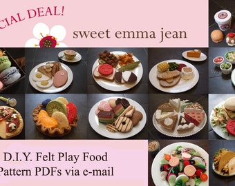 Felt Play Food Patterns - Get 13 PDFs for one low price  - DIY Felt Food Patterns
