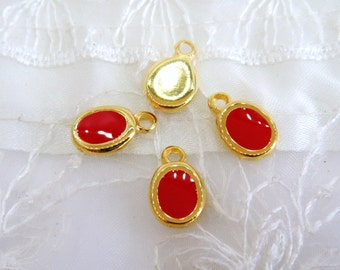 Gold Plated with Red Enamel Oval Charm Pendant, Tiny Charm, Small Charm, Gold Metal 15x10mm - 1 piece