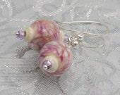 Lampworked Pretty Pink Enameled Earrings