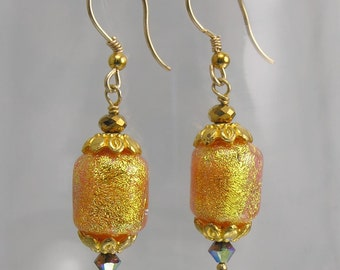 Super Sparkle Peach barrel Lampwork beaded earrings