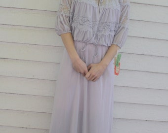 70s Maxi Dress Lace Dolman Shrug XS Reflections New Old Stock